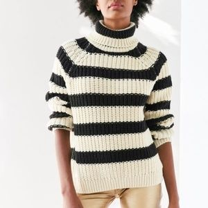 UO BDG Aria Striped Chunky Knit Turtleneck Sweater